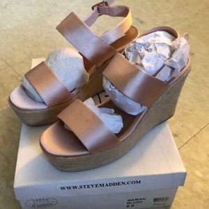 Steve Madden Satin Marian Blush wedges